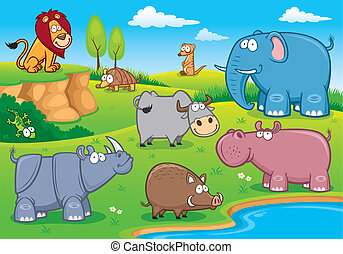 Wild animals - Vector illustration of Wild animals cartoons