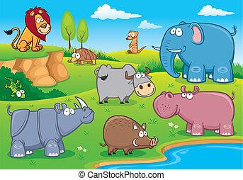 Wild animals - Vector illustration of Wild animals cartoons
