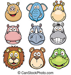 Vector illustration of Wild animals faces cartoons