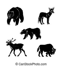 Vector illustration of wild animals.Hand drawn mammal silhouettes.