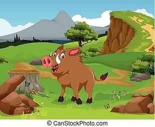 Wild boar cartoon in the jungle - vector illustration of ...