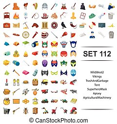 Vector illustration of wild, west, vikings, trash, garbage tent superhero mask apiary agricultural machinery icon set.