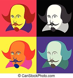Vector illustration of William Shakespeare in four color...
