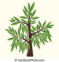 Vector Illustration of willow tree with two color leaves on light yellow background.