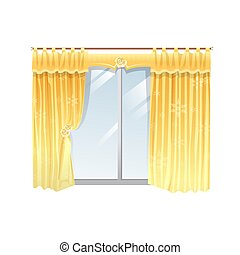 Vector illustration of windows with yellow curtain on a white background.