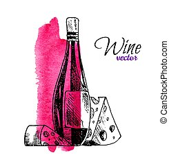 Vector illustration of wine bottle and cheese. Hand drawn sketched food and drink set of gourmet with watercolor background. Menu design concept for cafe, bar, restaurant etc.