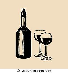 Vector illustration of wine bottle and glasses. Hand drawn sketch of vinemaking elements for cafe, bar, restaurant menu.