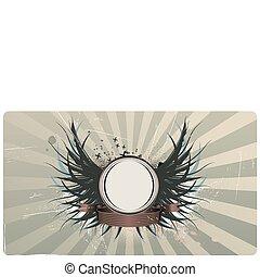 winged heraldic shield