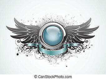 winged insignia - Vector illustration of winged insignia or...