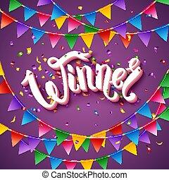 Vector illustration of Winner announcement stationery on purple