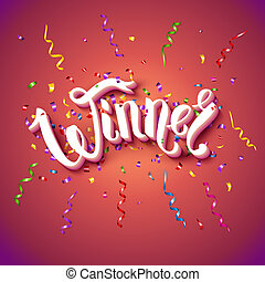 Vector illustration of Winner card stationery template in red