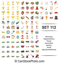 Vector illustration of winner, cup, vegetarian, dishes, theater, summer, rest skin care agricultural machinery icon set.