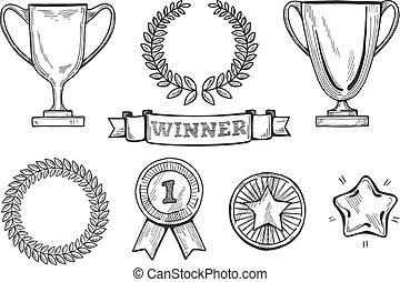 winners icons set