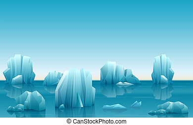 Vector illustration of winter arctic landscape with lot of icebergs and snow mountains.