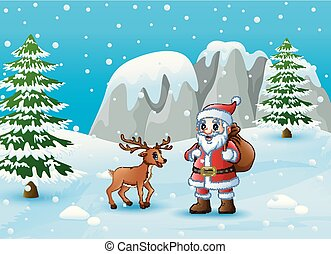 Winter background with Santa Claus and deer
