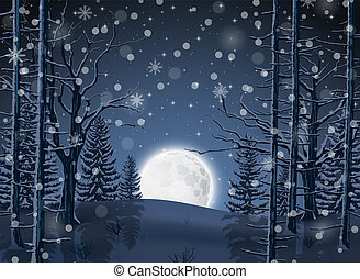Winter Forest Landscape with moon light