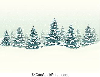 Winter landscape for Christmas background