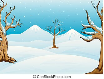 Winter landscape with mountain and bare trees