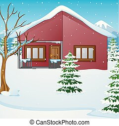 Winter landscape with snow covered house and fir tree