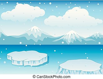 Winter landscape with snow mountains and ice floe