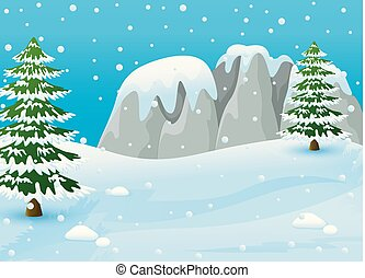 Winter landscape with snowy rocks and fir trees