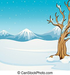 Winter mountain landscape with bare tree