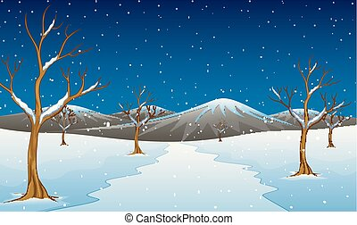 Winter mountain landscape with bare trees and road