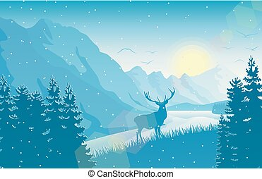 Winter mountain landscape with deer in a forest near a lake