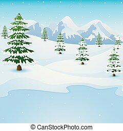 Winter mountain landscape with fir trees and frozen lake