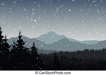 Vector illustration of winter mountain landscape with forest and falling snow