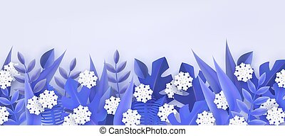 Vector illustration of winter natural border frame with tree leaves and snowflakes.