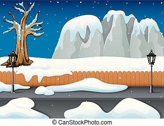 Winter night landscape with snowy rocks and snow on the street