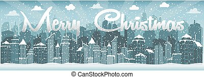 Winter urban landscape. City with snow. Christmas 2018. - ...