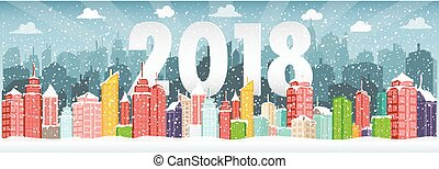 Vector illustration of Winter urban landscape. City with snow. Christmas 2018.