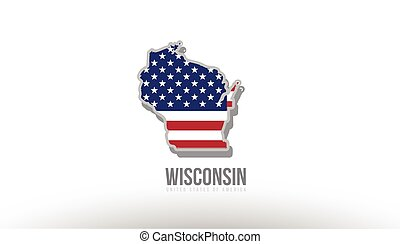 Vector illustration of wisconsin county state with united states flag