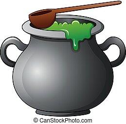 Witch cauldron cartoon