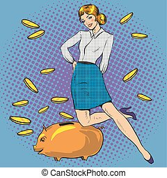 Vector illustration of woman and piggy bank, pop art style