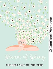 Vector illustration of woman and spring flowers.