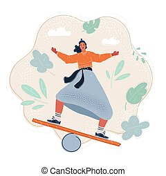 Vector illustration of woman balancing on board.