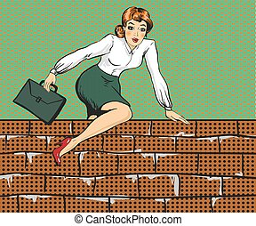 Vector illustration of woman climbing over fence, pop art style