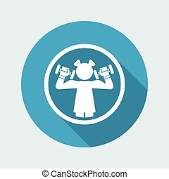 Vector illustration of woman gym single icon