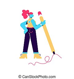 Vector illustration of woman hold big pencil