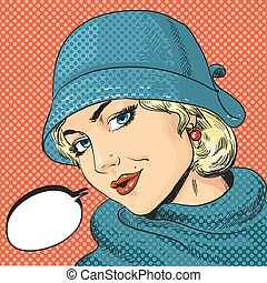 Vector illustration of woman in hat, retro pop art style