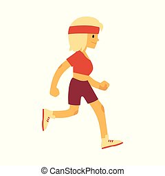 Vector illustration of woman in sportswear running in flat style.
