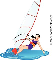 woman is playing windsurfing
