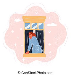 Cartoon vector illustration of woman look out window breathing fresh air