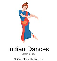 Vector illustration of woman performing Kathak classical...