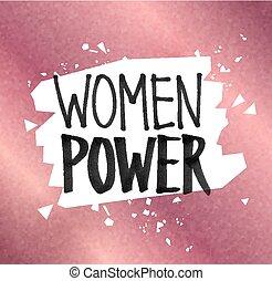 Woman Power felt tip pen lettering - Vector illustration of...