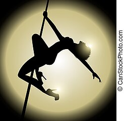 pole dance - vector illustration of woman practicing pole...
