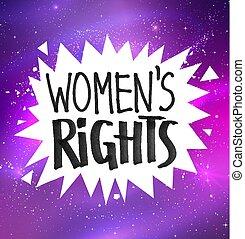 Woman Rights felt tip pen lettering - Vector illustration of...
